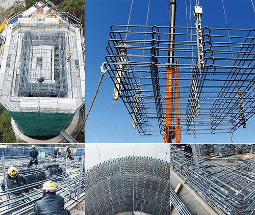 NOPキャリイ工法 組み立て作業の安全性と省力化を主体として、帯筋を吊り治具により組み立て場所まで輸送でき最終的には工具短縮も図れる最新精鋭的な特許工法です。
